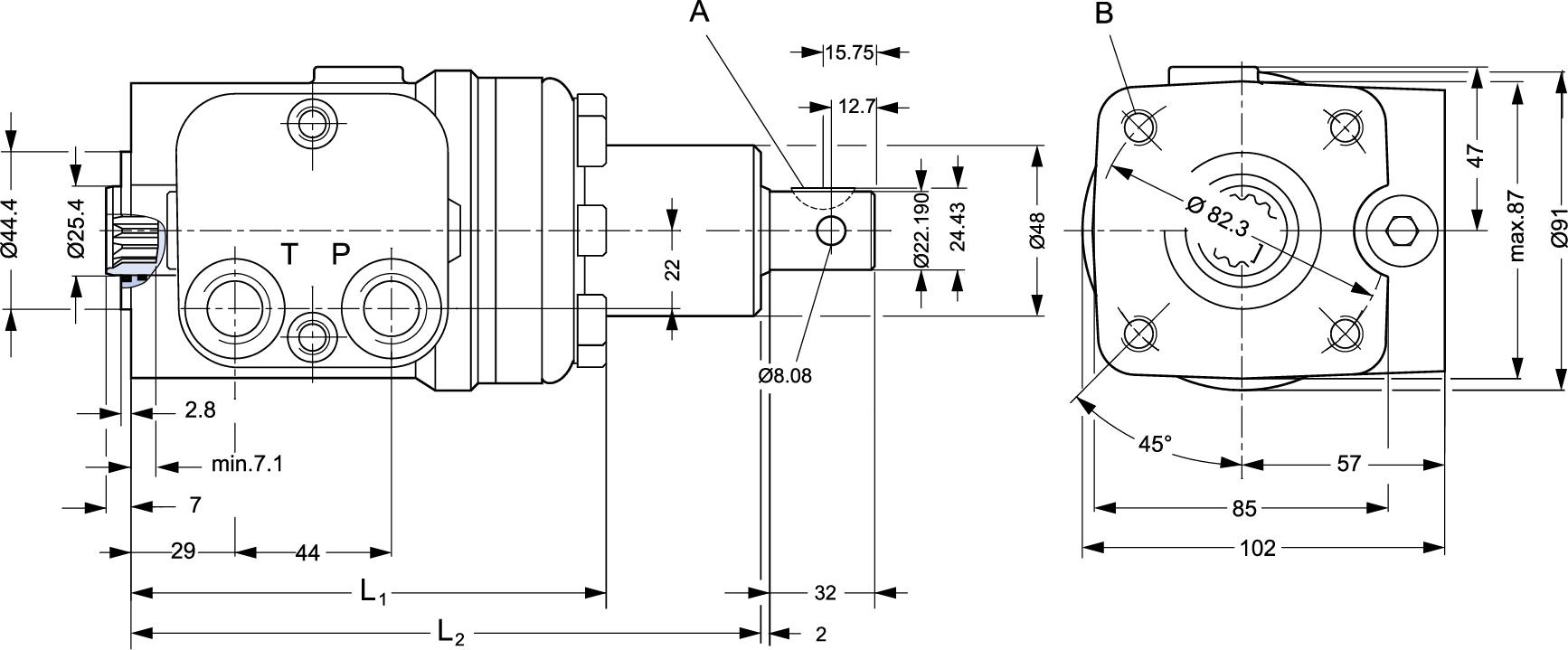 Dimension amplificateur de couple DANFOSS
