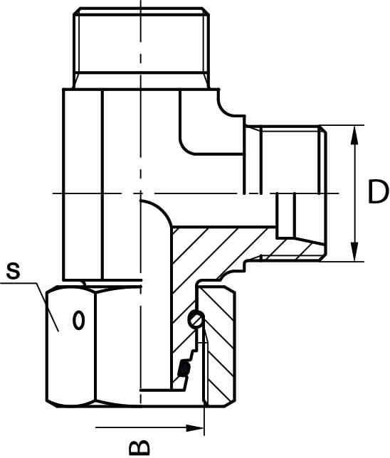 Union en té renversé male/femelle hydraulique