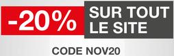 Promotion de 20% sur tout le site jusqu'au 30 Novembre 2017