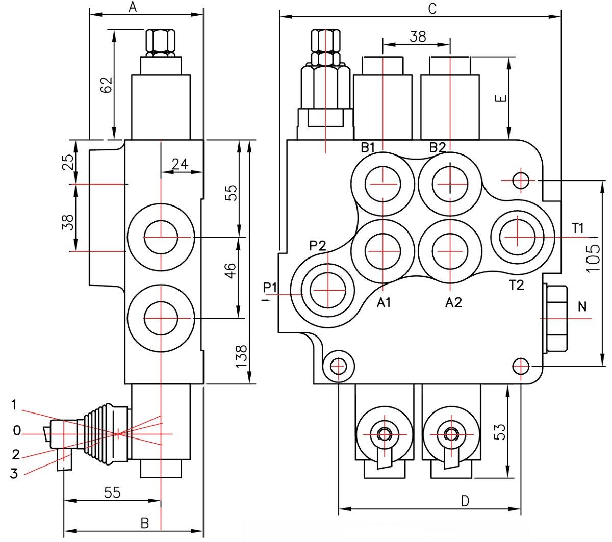 schéma distributeur hydraulique 80l/min