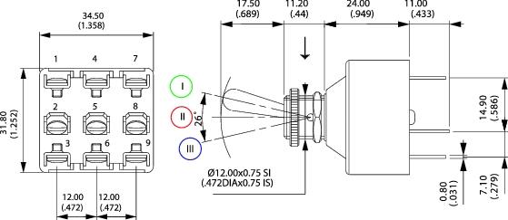 schéma interrupteur à levier tripolaire