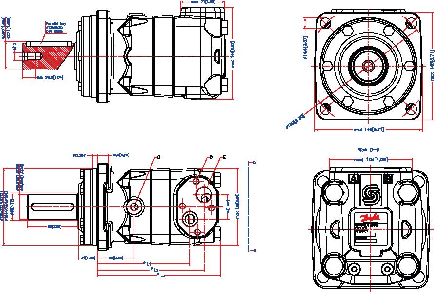 moteur hydraulique danfoss type omt arbre cylindrique semi